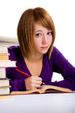 Книга чтения девушки Стоковая Фотография