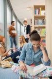 Книга чтения девушки в библиотеке колледжа Стоковые Изображения