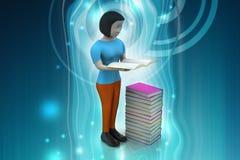 книга чтения женщин 3d, концепция образования Стоковая Фотография RF