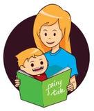 Книга чтения мамы и сына иллюстрация штока