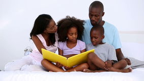 Книга чтения семьи на кровати сток-видео