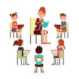 Книга чтения учителя к детям то усаживание вокруг Ягнит концепция вектора образования бесплатная иллюстрация