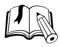 Книга шаржа с закладкой черно-белой Стоковые Фотографии RF