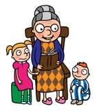 книга gradchildren бабушка читая к Стоковые Изображения