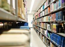 Книги библиотеки на полках стоковые фотографии rf