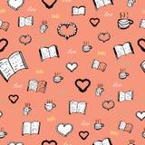 Книги, влюбленность, чай бесплатная иллюстрация