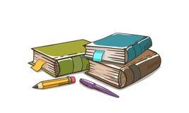 Книги дерева с ручкой и карандашем иллюстрация штока