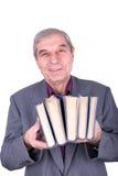 книги держа старый усмехаться профессора Стоковые Фотографии RF