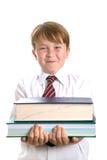 книги держа школьника Стоковая Фотография