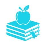 Книги и значок вектора яблока Стоковое Фото