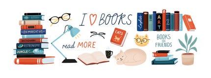 Книги и набор чтения Учебники для академичных исследований, милые коты, комнатное растение, стекла Пачка декоративного дизайна иллюстрация штока