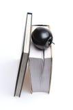 Книги и черное яблоко изолированные на белизне Стоковые Изображения RF