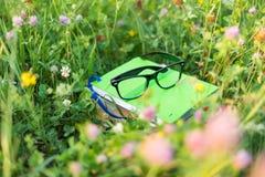 Книги и eyeglasses на зеленой траве снаружи Стоковое фото RF