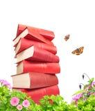Книги, цветки и butterflys Стоковое фото RF