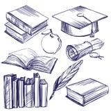Книги, llustration вектора года сбора винограда образования установленной нарисованное рукой Стоковая Фотография RF