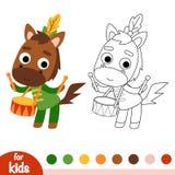 Книжка-раскраска, барабанщик лошади иллюстрация штока