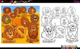 Книжка-раскраска группы характеров львов животная Стоковые Фотографии RF