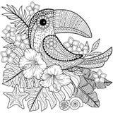 Книжка-раскраска для взрослых Toucan среди тропических листьев и цветков иллюстрация штока