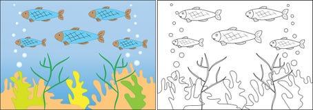 Книжка-раскраска для детей Заплыв в море, мультфильм рыб стоковые фотографии rf