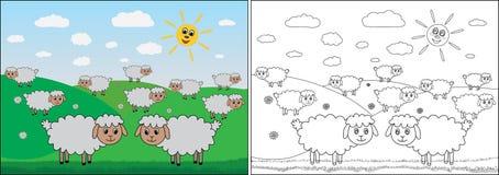 Книжка-раскраска для детей Овцы пасут в луге, мультфильме иллюстрация вектора