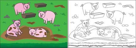 Книжка-раскраска для детей Свиньи в грязи на ферме, мультфильме бесплатная иллюстрация