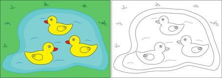 Книжка-раскраска для детей Утки на пруде, мультфильме вектор иллюстрация вектора