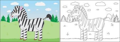 Книжка-раскраска для детей Шарж зебры иллюстрация штока
