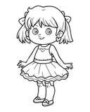 Книжка-раскраска, девушка в платье иллюстрация вектора