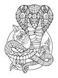 Книжка-раскраска змейки кобры для взрослых иллюстрация вектора