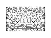 Книжка-раскраска магнитофонной кассеты для вектора взрослых Стоковые Изображения RF