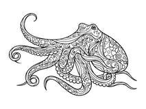 Книжка-раскраска осьминога для вектора взрослых Стоковая Фотография