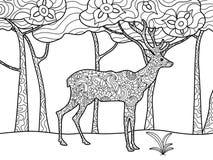 Книжка-раскраска оленей для растра взрослых Стоковое Изображение