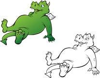 Книжка-раскраска дракона дружелюбная Стоковая Фотография RF