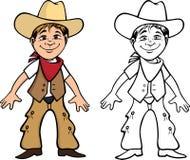 Книжка-раскраска ребенк ковбоя Стоковые Изображения RF