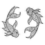 Книжка-раскраска рыб карпа Koi для вектора взрослых Стоковые Изображения