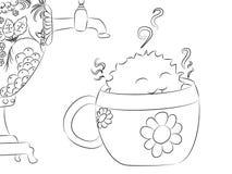 Книжка-раскраска самовара чашки чая изверга шаржа Стоковые Изображения RF