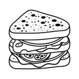 Книжка-раскраска, сандвич иллюстрация штока