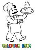 Книжка-раскраска смешного кашевара или хлебопека с хлебом бесплатная иллюстрация