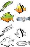 Книжка-раскраска собрания рыб Стоковые Фото