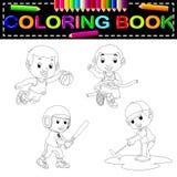 Книжка-раскраска спорта иллюстрация вектора