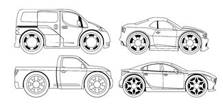 Книжка-раскраска: стилизованные установленные автомобили Стоковая Фотография