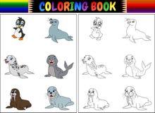 Книжка-раскраска с ледовитым собранием животных иллюстрация вектора