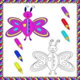 Книжка-раскраска с насекомыми (бабочка) также вектор иллюстрации притяжки corel Стоковое Изображение