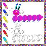 Книжка-раскраска с насекомыми (гусеница) также вектор иллюстрации притяжки corel Стоковые Изображения