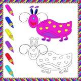 Книжка-раскраска с насекомыми (жук) также вектор иллюстрации притяжки corel Стоковые Изображения RF