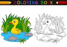 Книжка-раскраска утки шаржа стоковое изображение rf