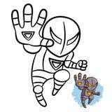 Книжка-раскраска утюга мальчика супергероя Комический персонаж изолированный на белой предпосылке бесплатная иллюстрация