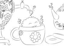Книжка-раскраска чайника самовара чашки чая засыхания изверга шаржа Стоковое Фото
