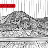 Книжка-раскраска для взрослых - книга кота zentangle, кот на кровати Стоковая Фотография RF
