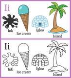 Книжка-раскраска для детей - алфавит i Стоковая Фотография